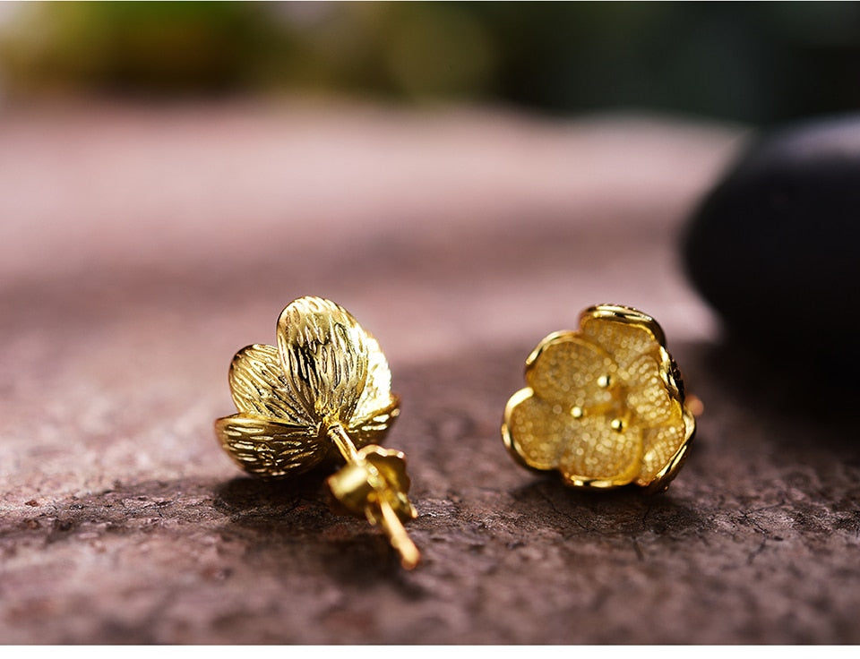 Handmade Gold Flower Stud Earrings