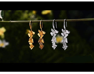 Handmade Flowers Drop Earrings 925 Sterling Silver