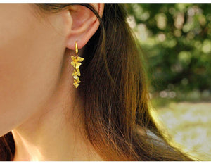 Flower Gold Earrings Handmade