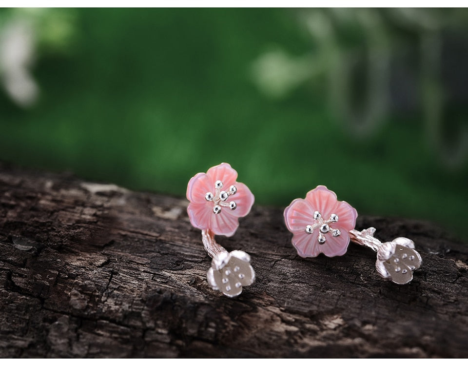 Begonia Flower Silver Earrings