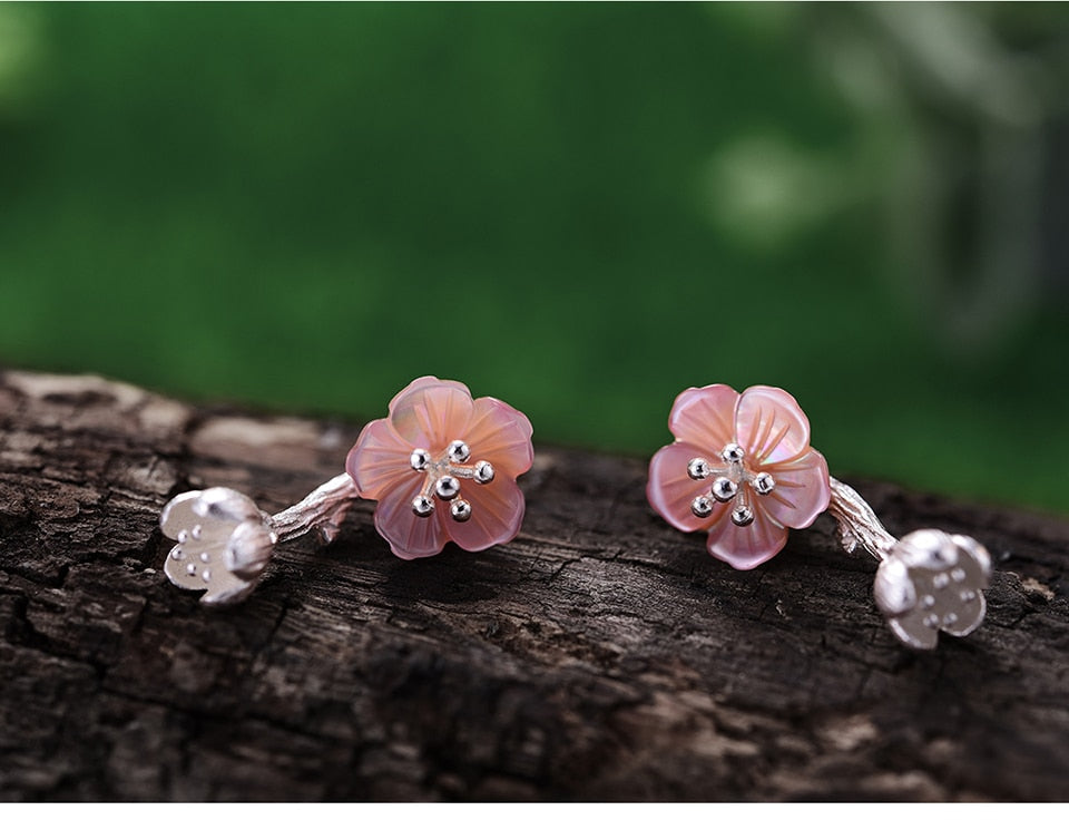 Begonia Flower Pink Silver Earrings