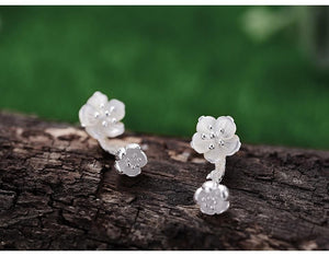 Begonia Flower 925 Silver Earrings
