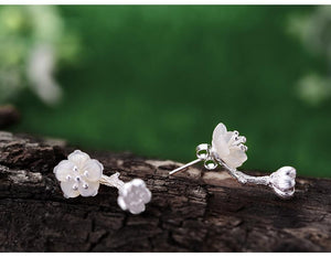 Begonia Flower Sterling Silver Earrings