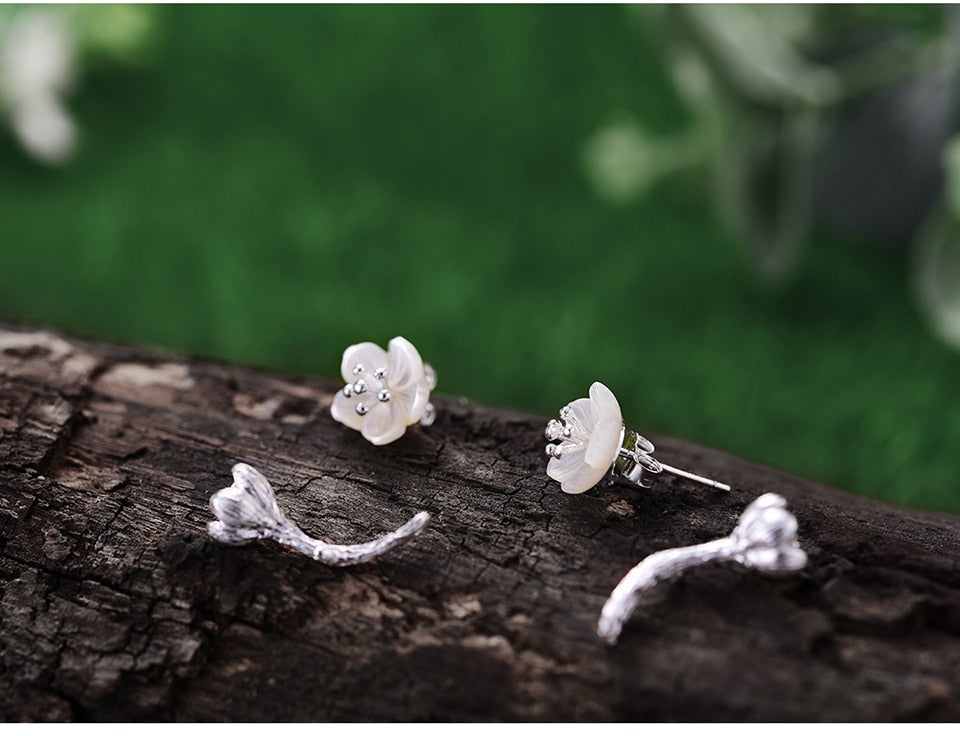 Begonia Flower  White Silver Earrings