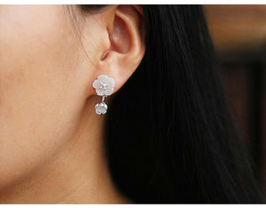 Begonia Flower Drop Silver Earrings