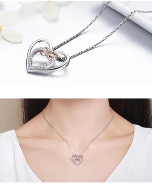 Double Heart 925 Sterling Silver Necklace