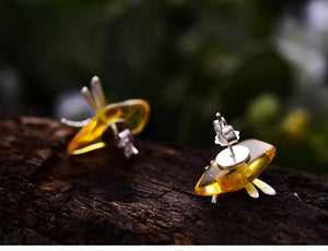 Stud Earrings Dragonfly Amber Sterling Silver