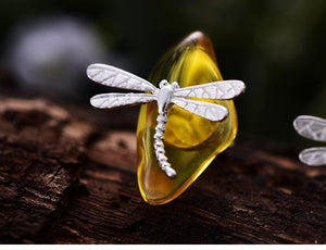 Stud Earrings Dragonfly Amber 925 Sterling Silver