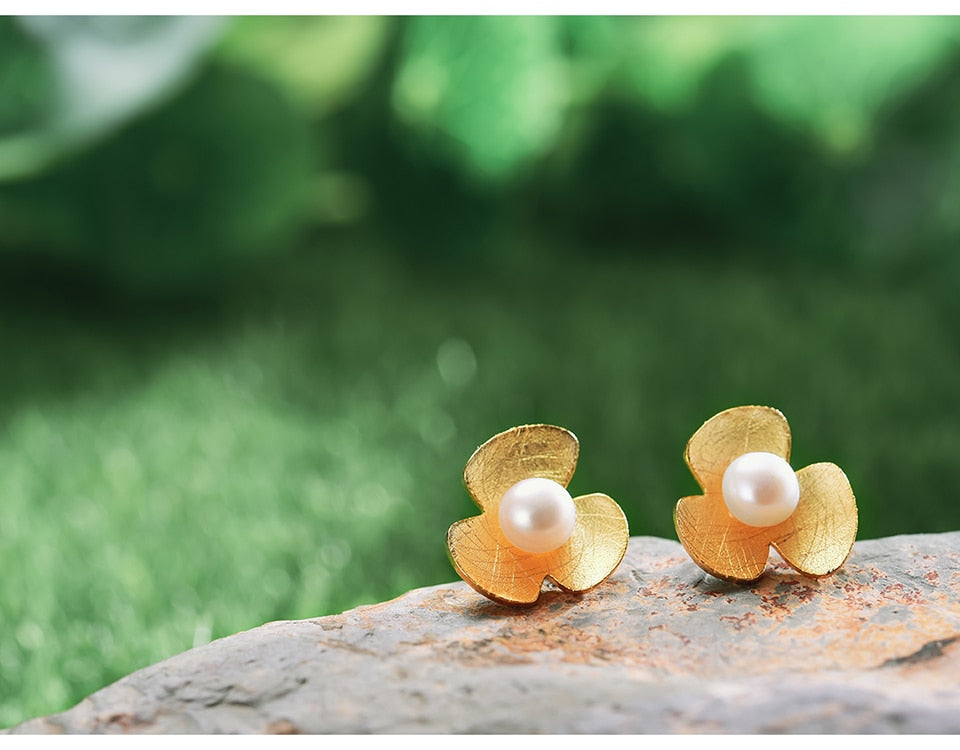 Clover Flower Gold Earrings