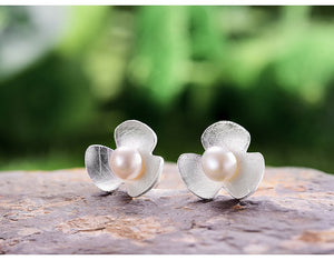Clover Flower Silver Earrings
