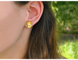Clover Flower 925 Gold Earrings