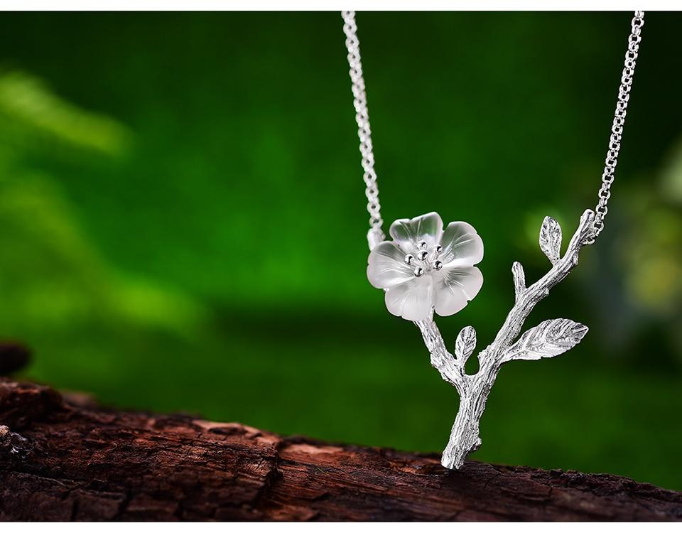 Crystal Flower Pendant Necklace Sterling Silver