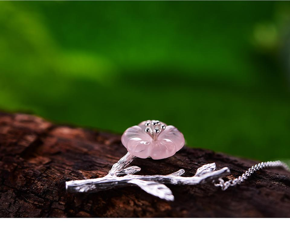 Handmade Necklace Sterling Silver Crystal Flower