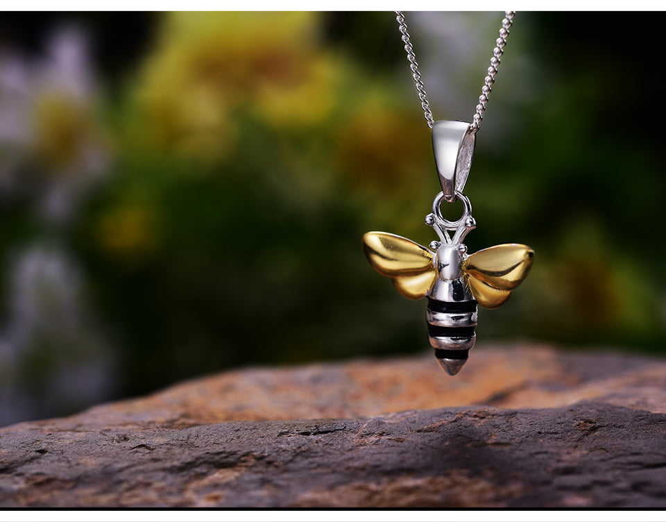 Bee 925 Sterling Silver Pendant Necklace