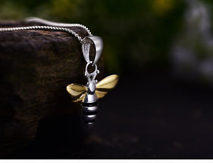 Honey Bee Silver & Gold Pendant Necklace
