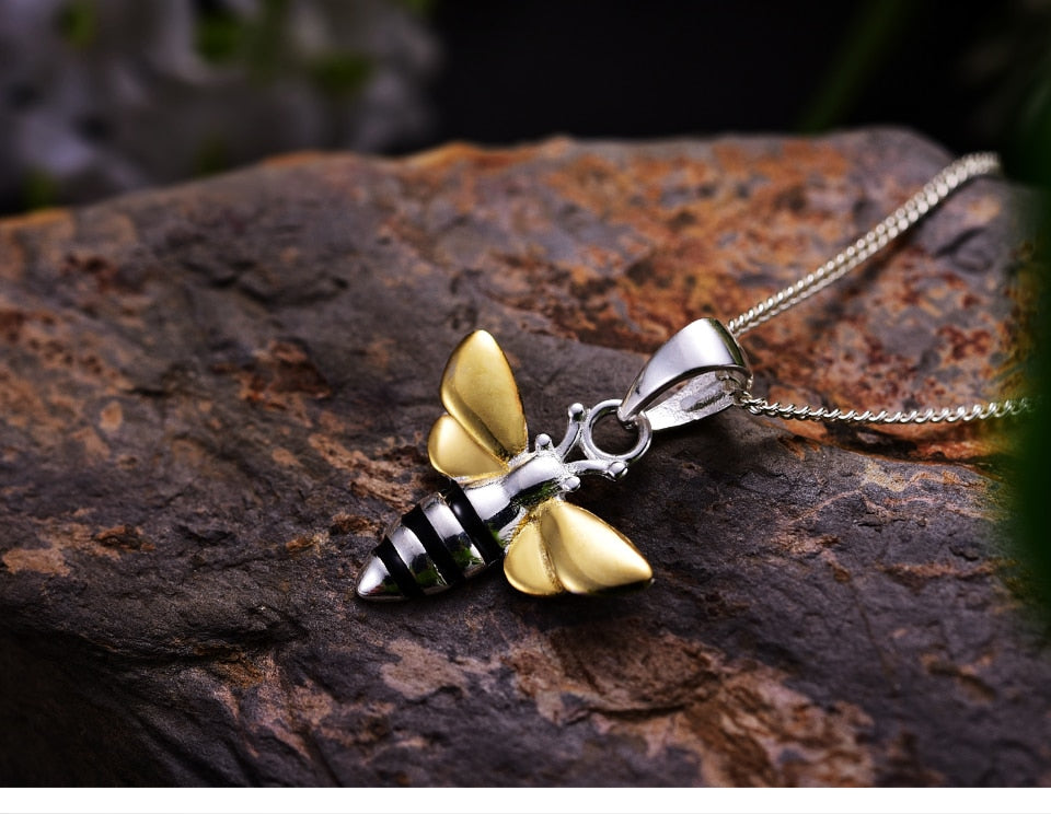 Bee Pendant Necklace Silver Gold