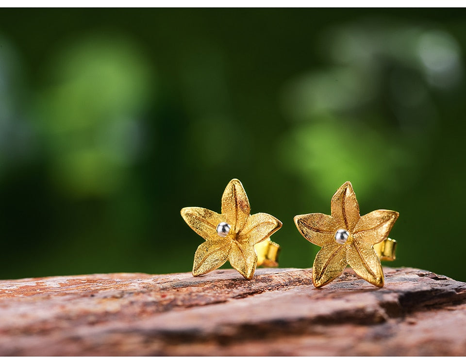 Elegant Flower Gold Earrings