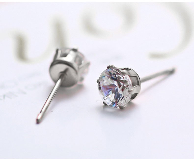 Round Classic CZ Silver Stud Earrings