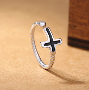 Black Cross 925 Silver Ring