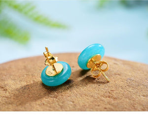 Amazonite Gold Earrings Clouds in Blue Sky