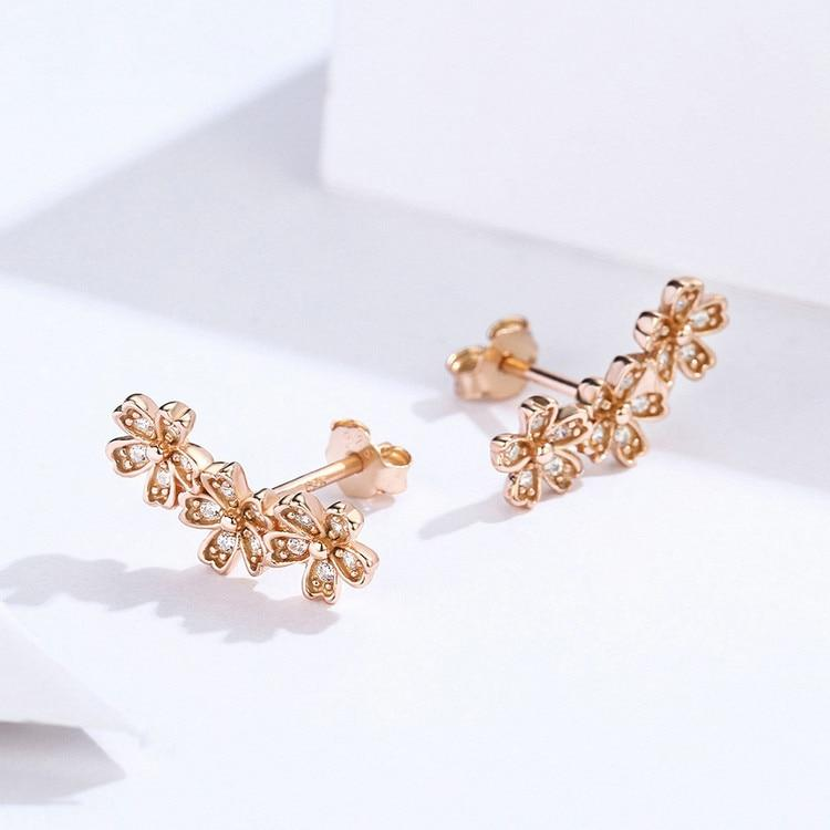 Rose Gold Earrings Flower CZ