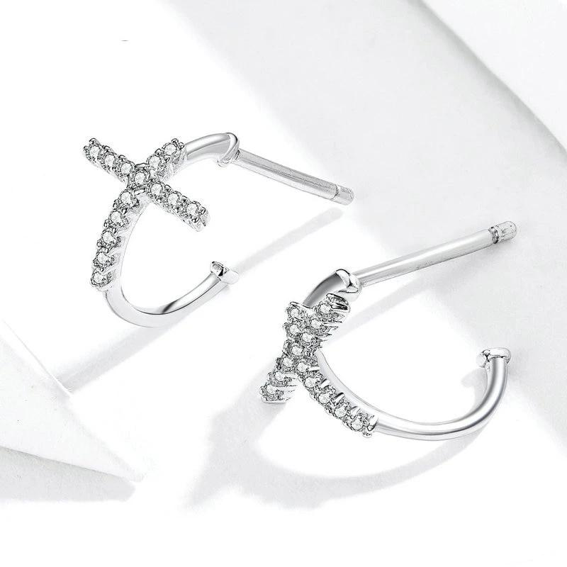 Cross Sterling Silver Earrings