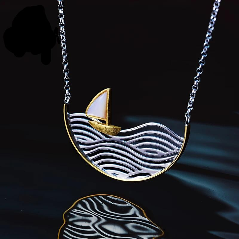 Necklace Sailboat 925 Sterling Silver Handmade