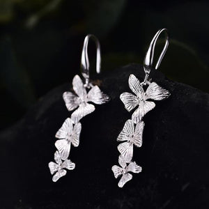 Flowers Drop Earrings 925 Sterling Silver Handmade