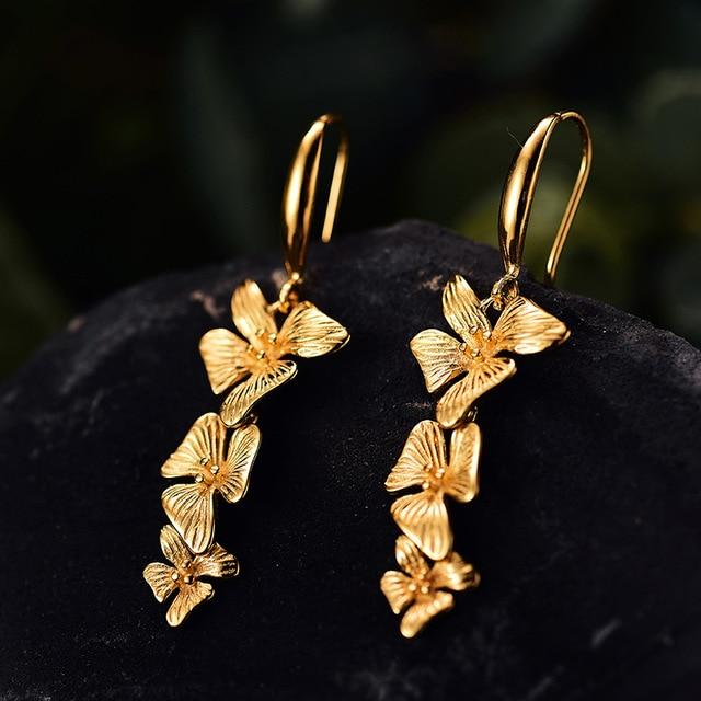 Flowers Drop Gold Earrings Handmade