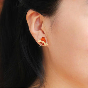 Stud Earrings Gold Dragonfly Amber