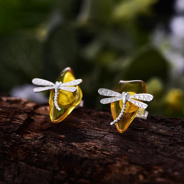 Dragonfly Amber Sterling Silver Stud Earrings