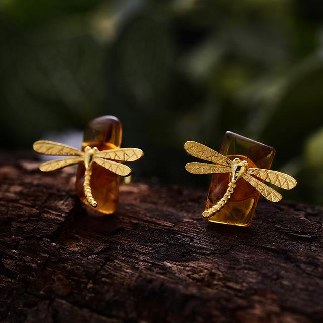 Dragonfly Amber Gold Stud Earrings