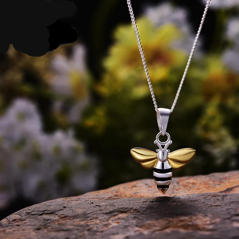 Honeybee Silver & Gold Pendant Necklace