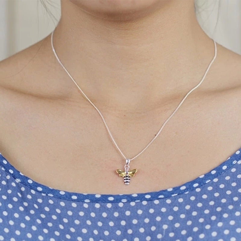 Bee Necklace Silver Gold Pendant