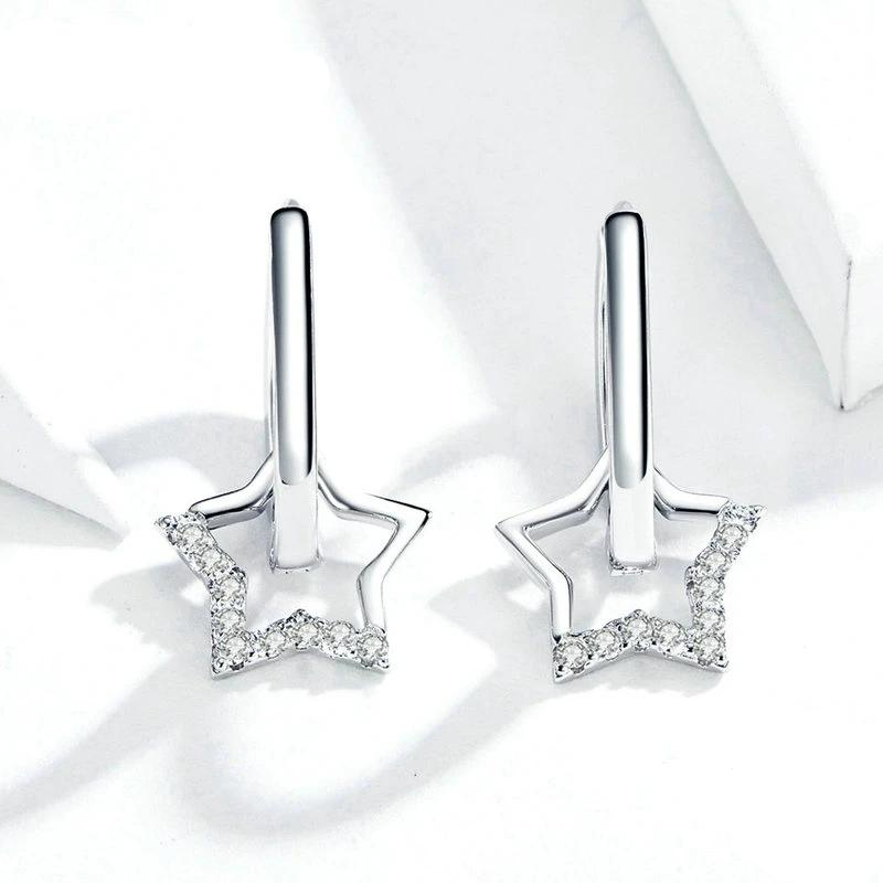 Shiny Stars Sterling Silver Earrings