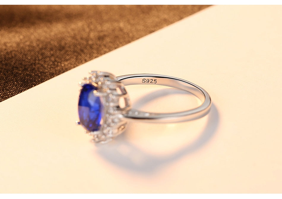 Oval Sapphire Silver Ring