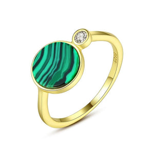 Round Malachite Gold Ring