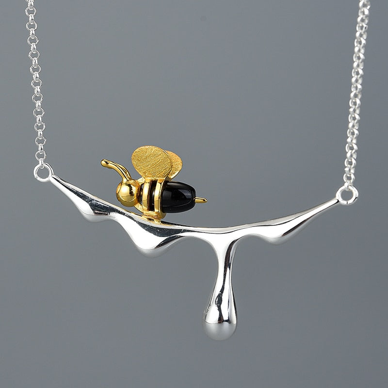 Honeybee Necklace Pendant Sterling Silver Handmade