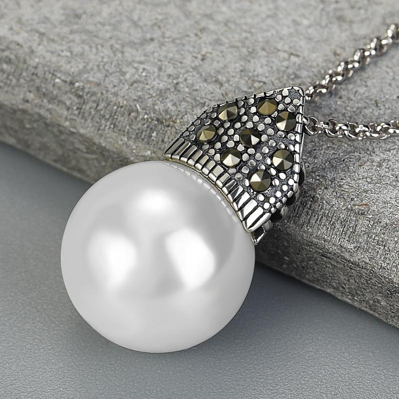 Cultured Pearl Pendant Necklace 925 Sterling Silver