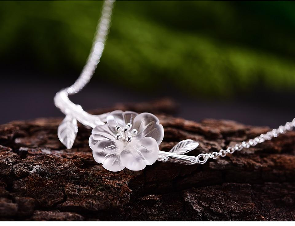 Necklace Crystal Flower Handmade 925 Sterling Silver