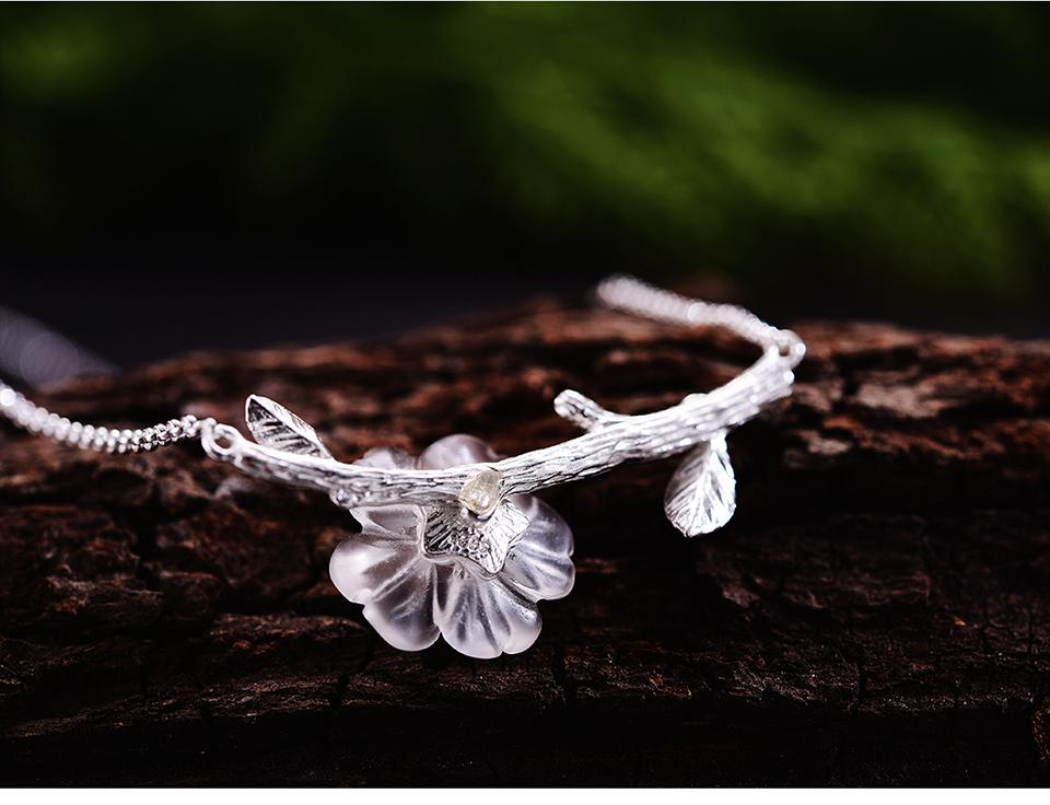 Necklace Crystal Flower Pendant 925 Sterling Silver