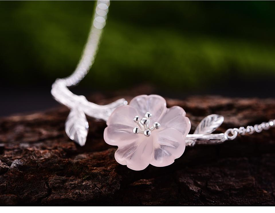 Necklace Crystal Flower Pink 925 Sterling Silver