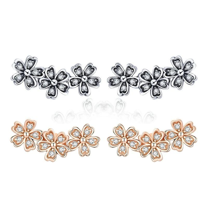 Flower CZ Stud Earrings 925 Sterling Silver