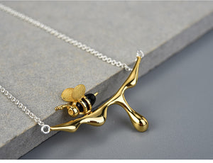 Handmade Necklace Honey bee Gold