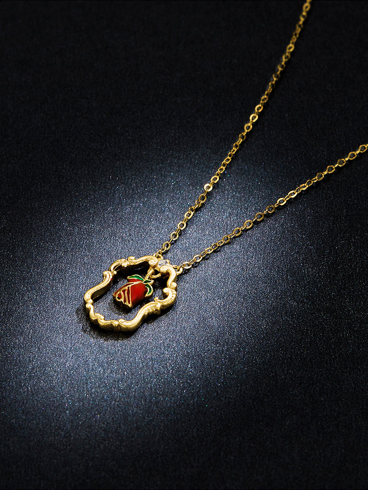 Red Rose Gold Necklace