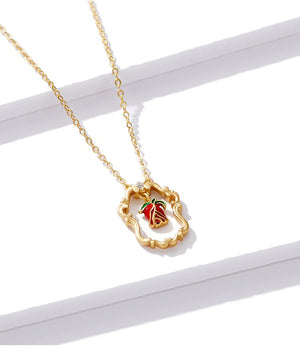Necklace Red Rose Gold Pendant