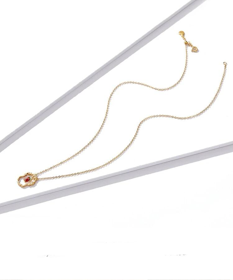 Necklace Red Rose 925 Gold