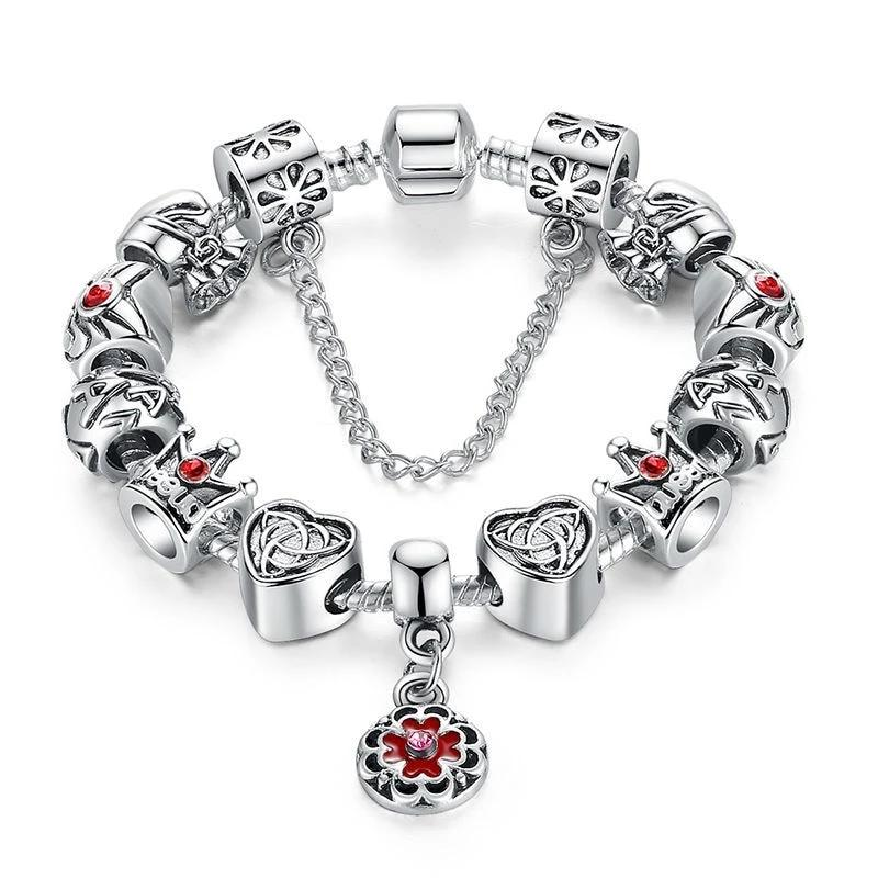 Heart Crown Silver Bracelet