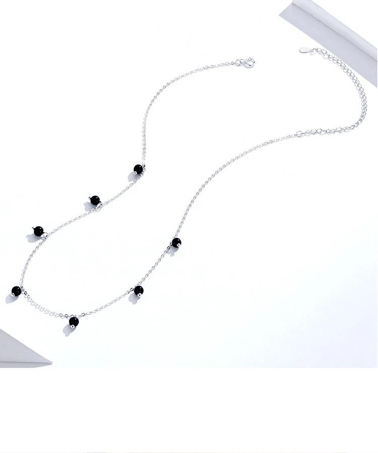 Black Crystal 925 Sterling Silver Necklace