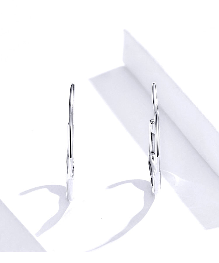 geometric big hoop silver earrings